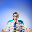 Young businessman tied with rope — Stock Photo #6843667