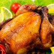 Roasted turkey on the festive table — Stock Photo