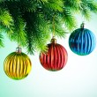 Baubles on christmas tree in celebration concept — Stock Photo #6844122