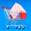 Stock Photo: Gift box and shopping cart