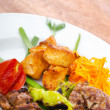 Stockfoto: Plate with tasty lamp kebabs