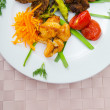 Plate with tasty lamp kebabs - Stok fotoğraf