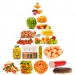 Stock Photo: Food pyramid with lots of items