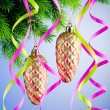 Baubles on christmas tree in celebration concept - 图库照片