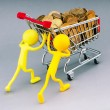 Smilies with shopping carts and coins — Stock Photo #6846433