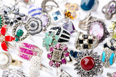 Selection of many precious rings — 图库照片