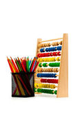 Abacus and pencils isolated on white — ストック写真
