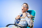 Young businessman tied with rope — Stock Photo