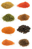 Selection of spices isolated on white — Stock Photo