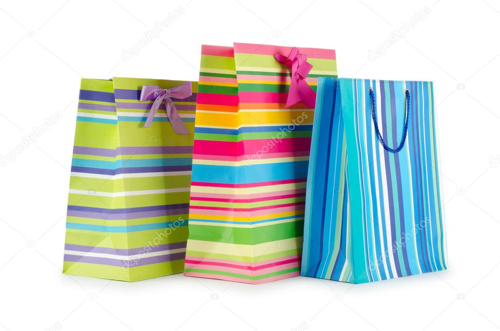 Shopping concept with bag on white — Stock Photo #6842305