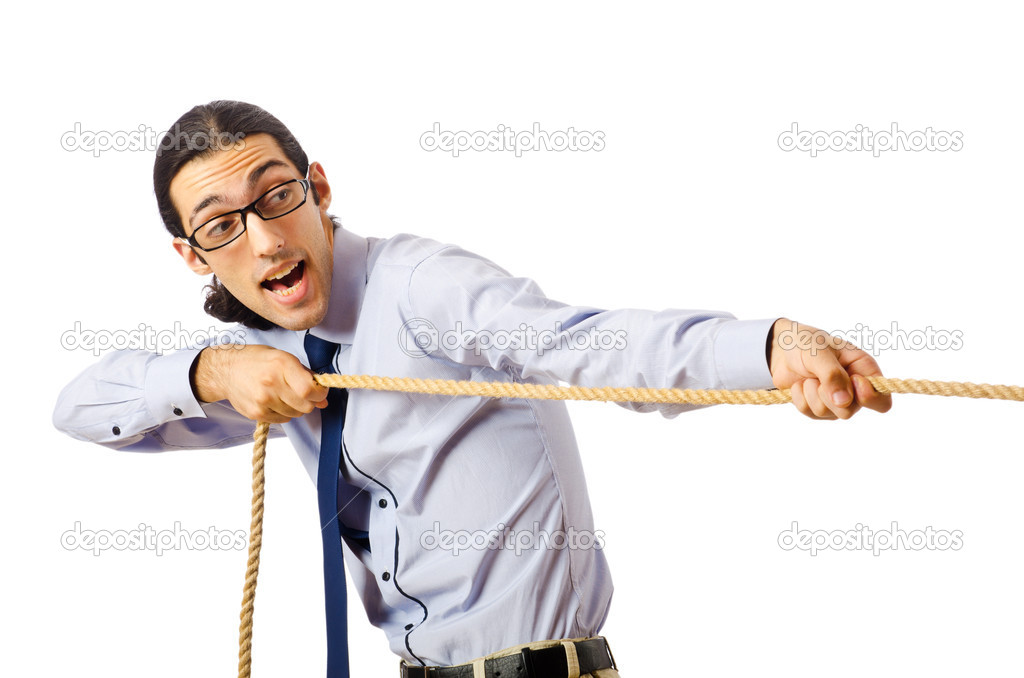 Businessman in tug of war concept — Stock Photo #6843757