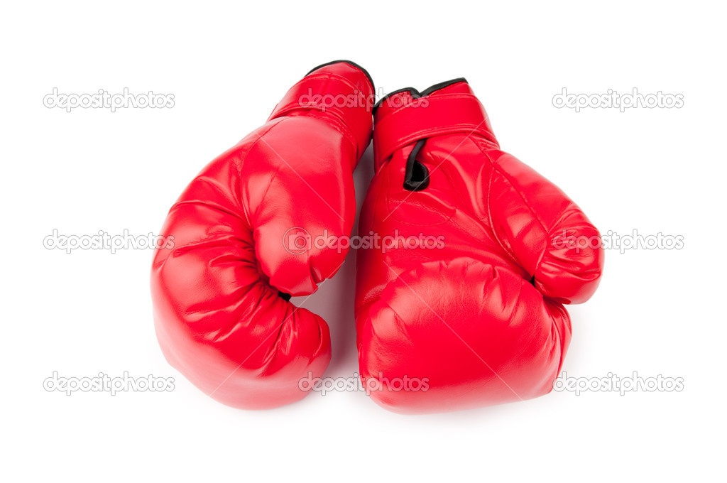 Red boxing gloves isolated on white — Stock Photo #6843932