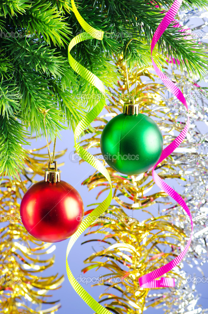 Baubles on christmas tree in celebration concept  Stock Photo #6844829