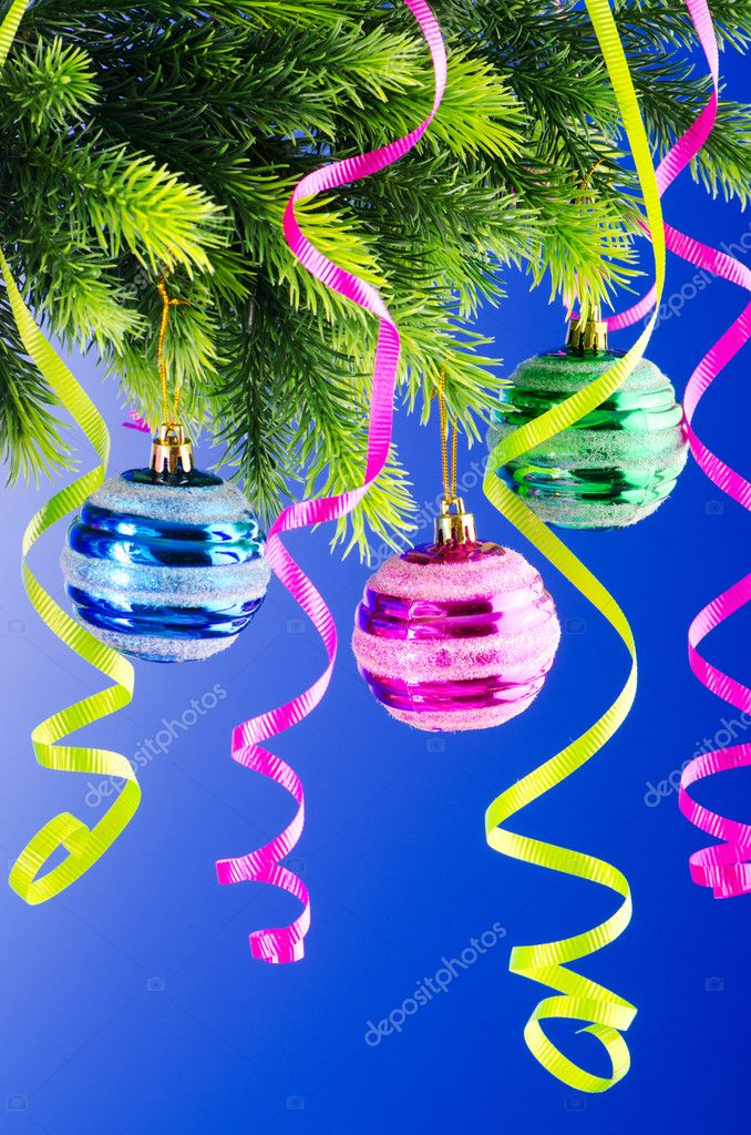 Baubles on christmas tree in celebration concept — Stock Photo #6845035