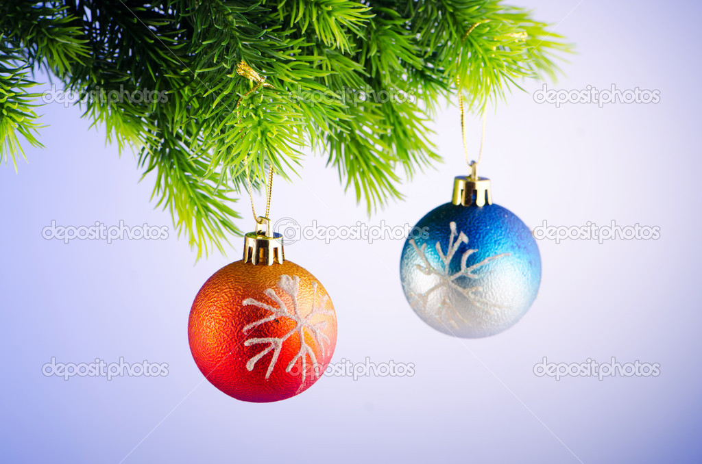 Baubles on christmas tree in celebration concept — Stock Photo #6845123