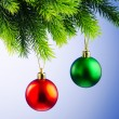 Baubles on christmas tree in celebration concept - Stok fotoğraf