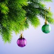 Baubles on christmas tree in celebration concept - Stockfoto