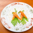 Boiled carrots served in the plate — Stock Photo