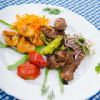 Plate with tasty lamp kebabs — 图库照片
