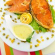 Stock Photo: Roasted salmon in the plate