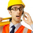 Young construction worker with hard hat — Stock Photo