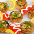Stuffed mushroom served in the plate — Stock Photo