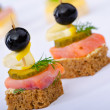 selection of various canape — Stock Photo