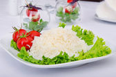 Plain rice served in the plate — Stock Photo