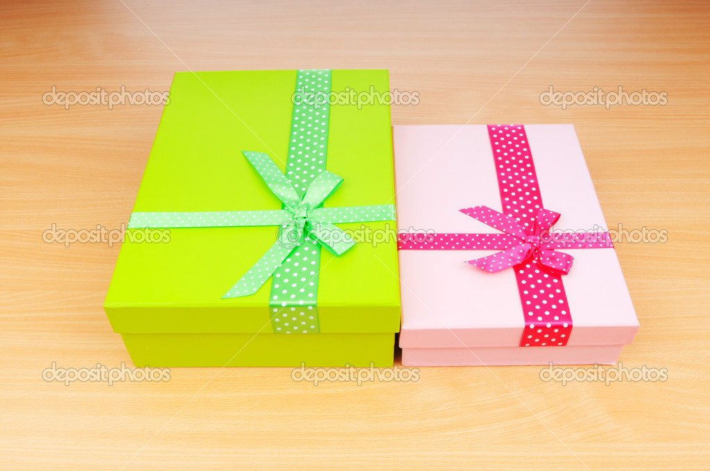 Christmas concept with giftbox on table — Stok fotoğraf #6888666