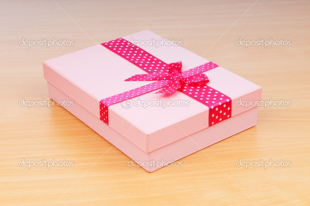 Christmas concept with giftbox on table — Stock Photo #6888684