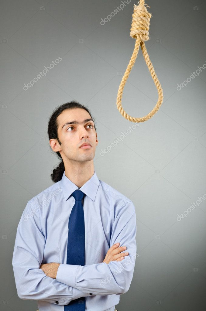 Businessman with thoughts of suicide — Stock Photo #6888733