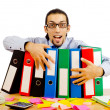 Businessman with many folders on white — Stock Photo #6893792