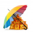 Golden sacks under protection of umbrella - Stock Photo