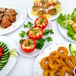 Table served with tasty meals — Stock Photo #7107042