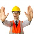 Young construction worker with hard hat — Stock Photo #7107763