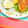 Roasted salmon in the plate — Stock Photo #7108164