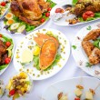 Table served with tasty meals — Stock Photo #7109483