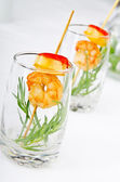 Prawn salad served in the glasses — Stock Photo