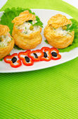 Russian salad served in profiterole — Stock Photo