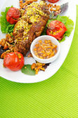 Lamb leg served in the plate — Stock Photo