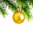 Christmas concept with baubles on white - Stock Photo