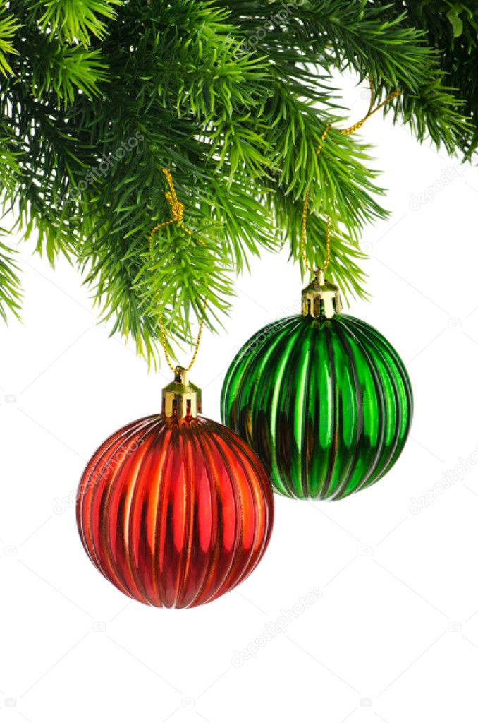 Christmas concept with baubles on white — Stock Photo #7111634