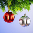 Baubles on christmas tree in celebration concept - ストック写真