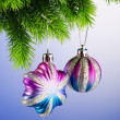 Baubles on christmas tree in celebration concept — Stock Photo #7128422