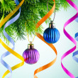 Baubles on christmas tree in celebration concept — Stock Photo #7128675