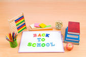 Back to school concept with many items — Stockfoto