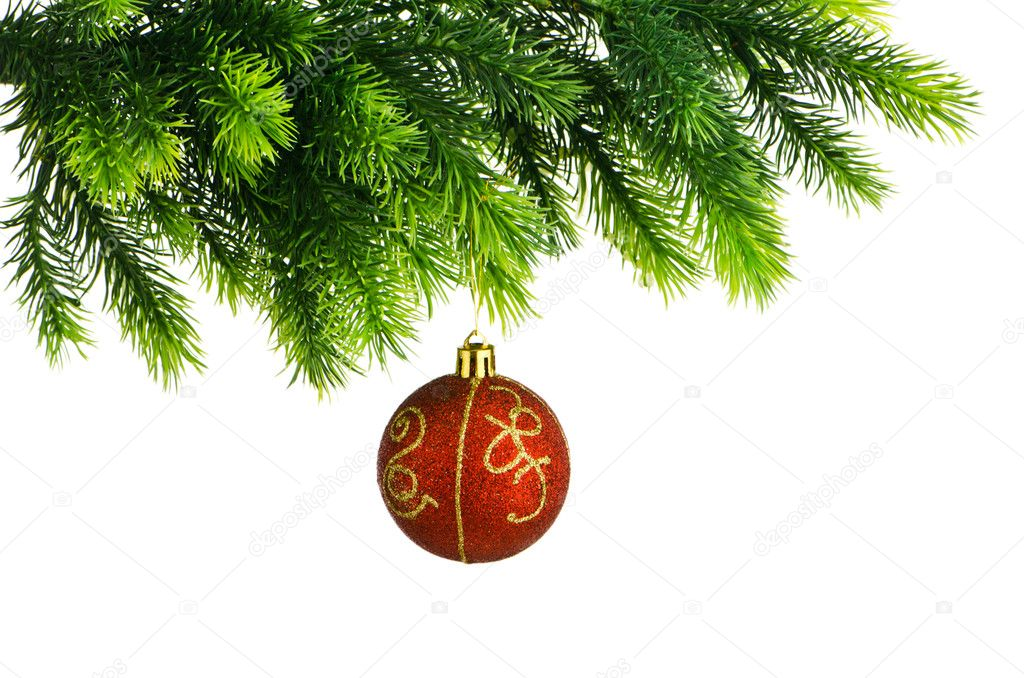 Christmas concept with baubles on white — Stock Photo #7125357