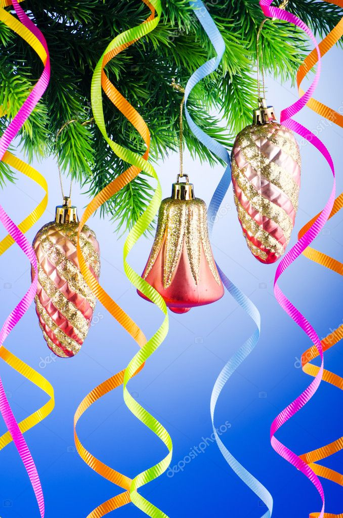 Baubles on christmas tree in celebration concept — Stock Photo #7128508