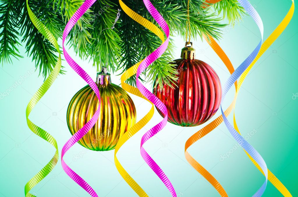 Baubles on christmas tree in celebration concept  Stock Photo #7128556