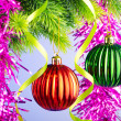 Baubles on christmas tree in celebration concept - Stok fotoraf